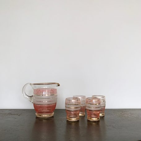 1950s Glass Striped Lemonade Set