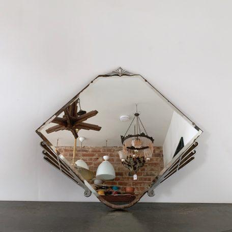 Art Deco Frameless Mirror with Chromed Details