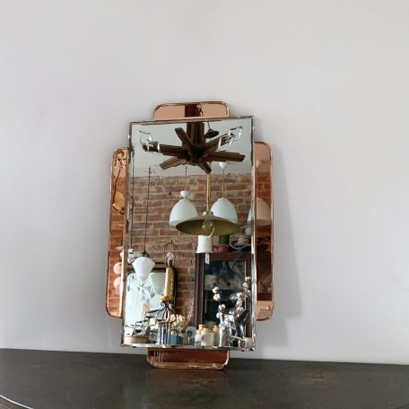 Art Deco Frameless Mirror with Rose Glass and Bevelled Details