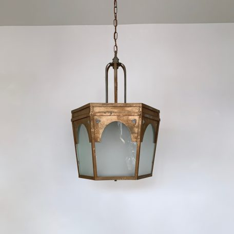 Large Brass Coated Steel Hexagonal Lantern with Frosted Glass Panels