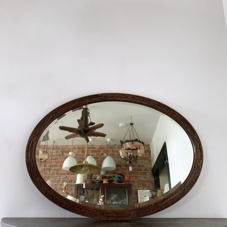 Large Floral Carved Hard Wood Oval Mirror