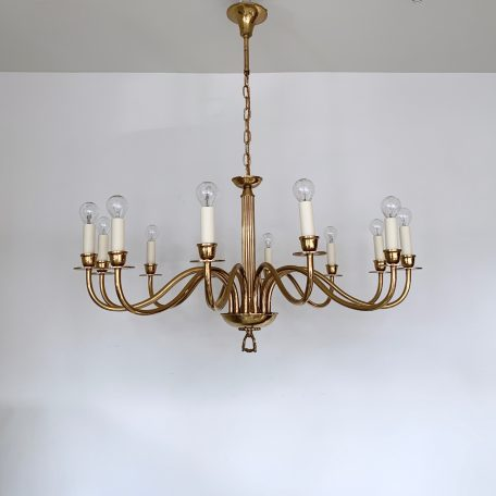 Large Polished Brass Twelve Arm Chandelier