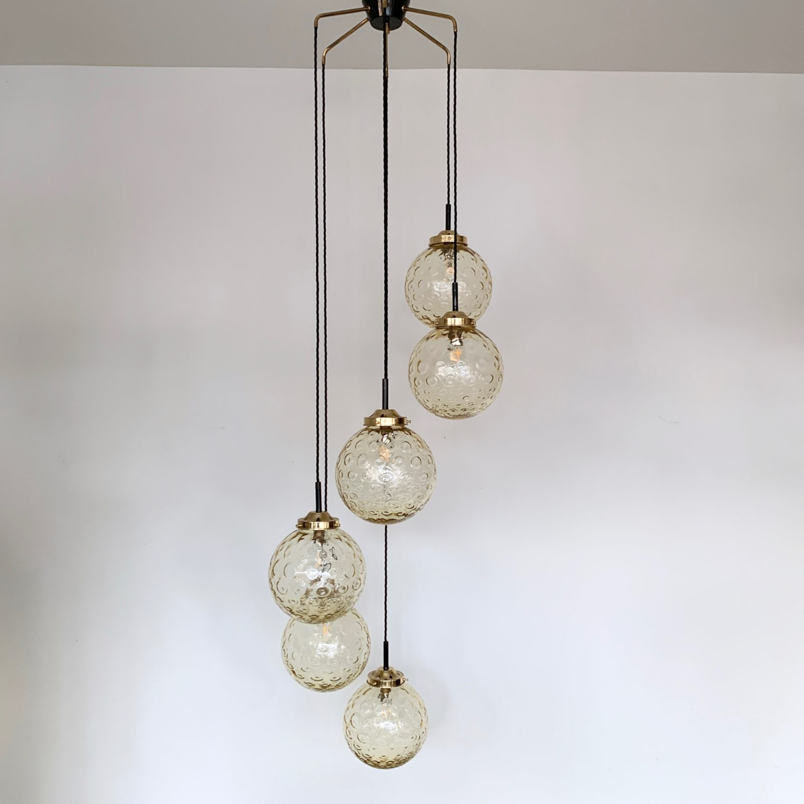 Mid Century Multi Pendant Amber Globe Chandelier ...