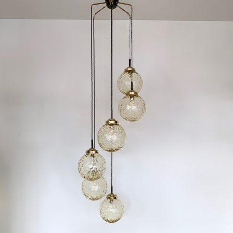Mid Century Multi Pendant Amber Globe Chandelier