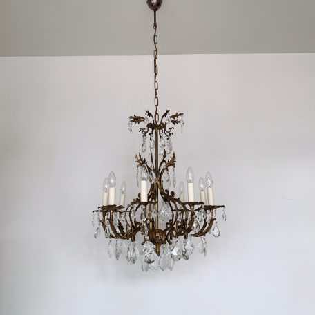 Ornate Floral Brass Chandelier with Glass Flat Leaf and Cut Pear Drops