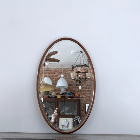 Oval Portrait Wooden Bevelled Mirror