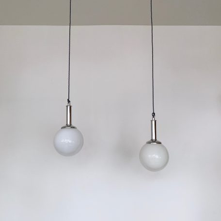 Pair of Opaline Shades with Chromed Fittings