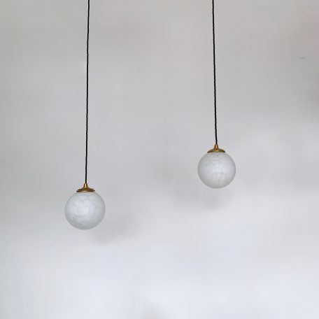 Pair of Small White Matt Glass Globe Shades with Crackle Detail