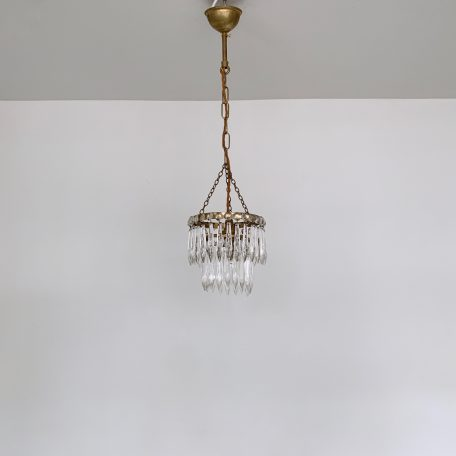 Small Brass Two Tier Icicle Waterfall Chandelier