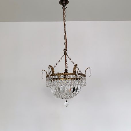 English small brass and crystal basket chandelier