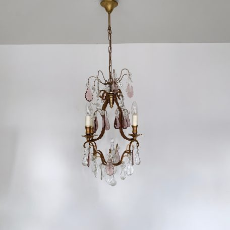 Small French Brass Birdcage Chandelier with Clear and Purple Glass and Crystal Drops