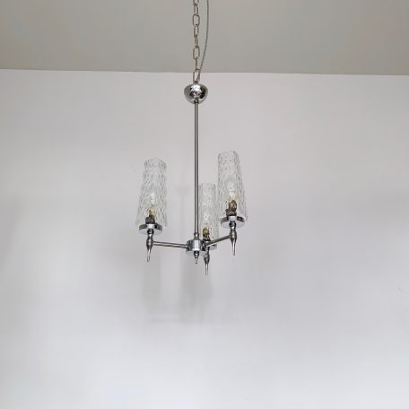 Small Mid Century Chromed Chandelier with Three Textured Clear Glass Shades