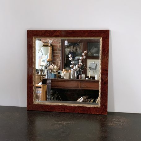 Square Walnut Veneer Mirror