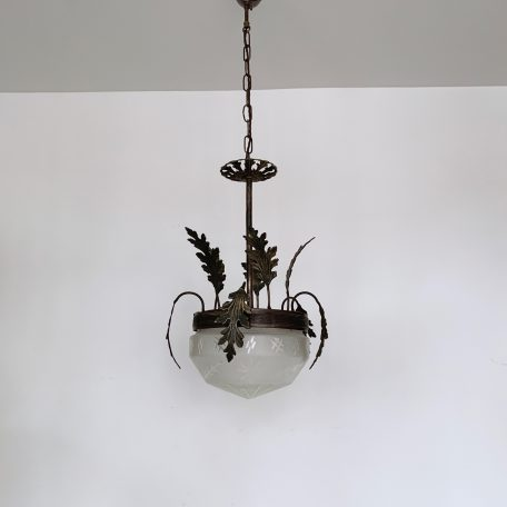 Ornate Brass Hall Pendant with Frosted Cut Glass Shade
