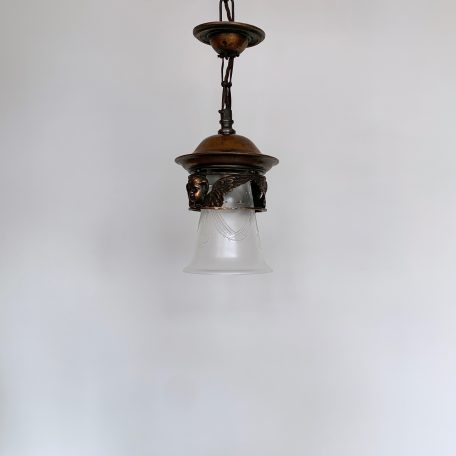 English Copper Lantern with Frosted Etched Bell Shade