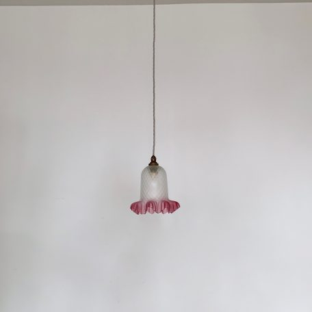 Frosted Bell Shade with Cranberry Frill Edge