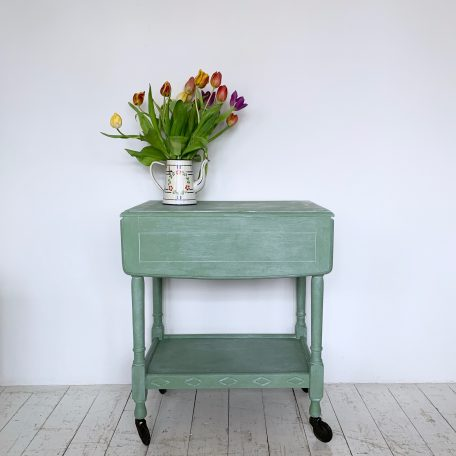 Green Painted Drop Leaf Trolley Table