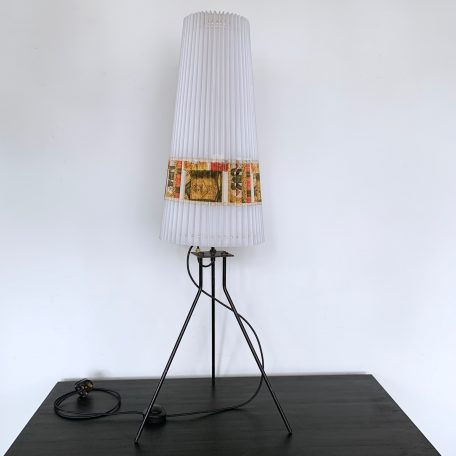 Mid Century Floor Lamp with Plastic Concertina Shade