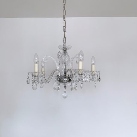 Five arm Murano glass swan neck chandelier made from clear glass and faceted glass details