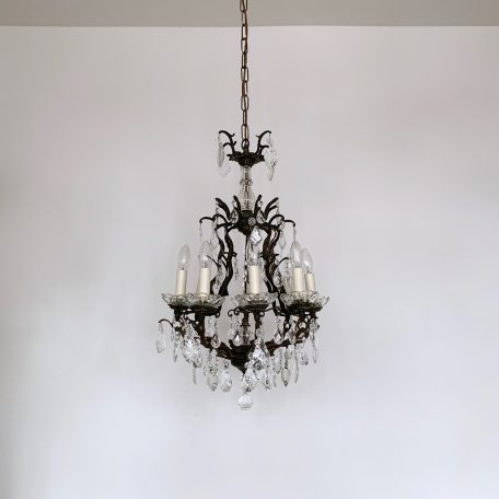 Ornate Italian Birdcage Chandelier with Flat Leaf and Pear Drops