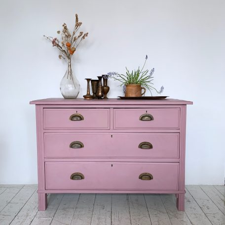 Painted Chest of Drawers with Vintage Brass Handles