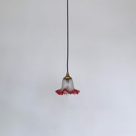 Small French Crackle Shade with Cranberry Frill Edge