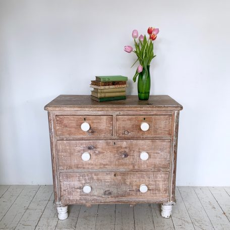 Small Pine Chest with Original Ceramic Handles
