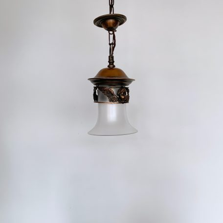 A Pair of English Copper Lanterns with Frosted Shades