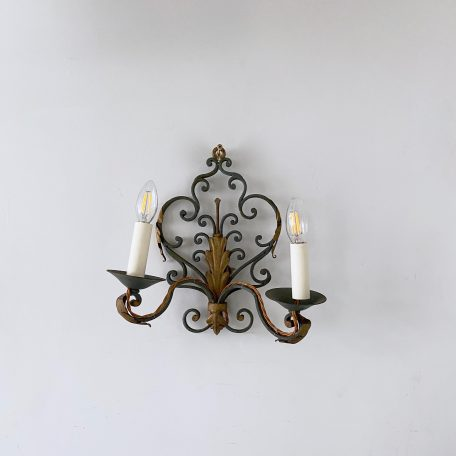 Early 1900s French Wrought Iron Wall Light