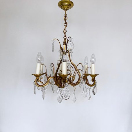 French Brass 1930s Chandelier with Crystal and Flat Leaf Drops