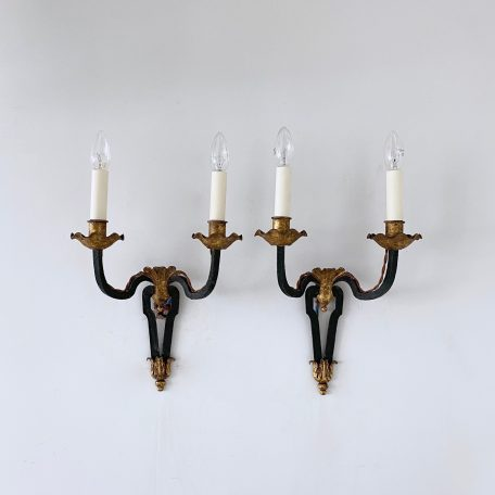 Pair of 1930s Greened Wrought Iron Wall Lights