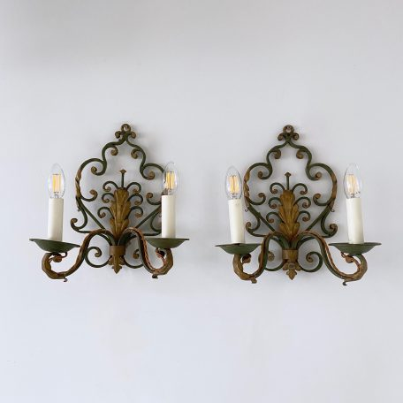 Pair of Early 1900s French Wrought Iron Wall Lights