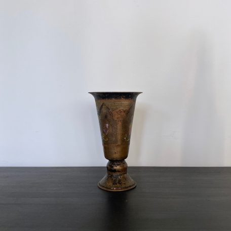Small Turkish Brass and Copper Etched Vase