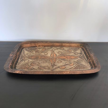 Turkish Etched Brass and Copper Tray