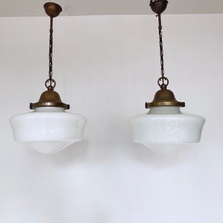 Two Original 1930s School House Opaline Shades