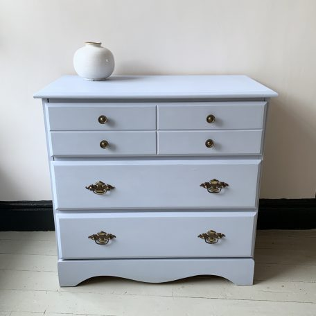 solid wood chest of three drawers painted in Louis Blue