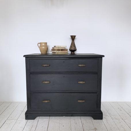 Athenian Black painted small chest of drawers finished with black wax for a luxurious velvety finish