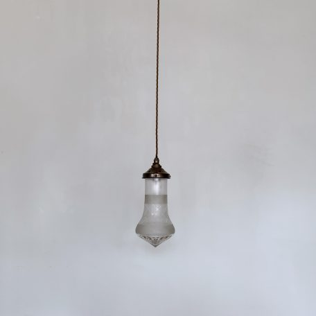 Enclosed Frosted and Faceted Glass Shade