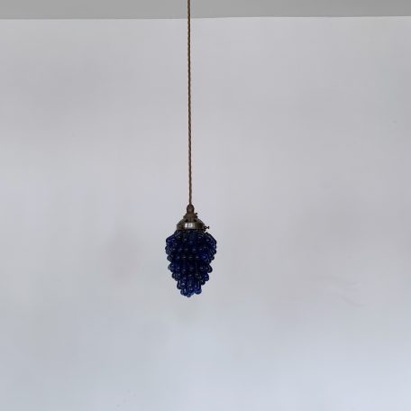 French Blue Glass Grape Pendants