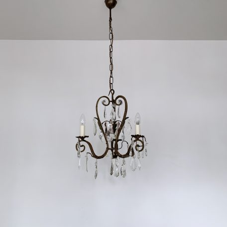 French Wrought Iron Three Arm Chandelier with Original Crystal Drops