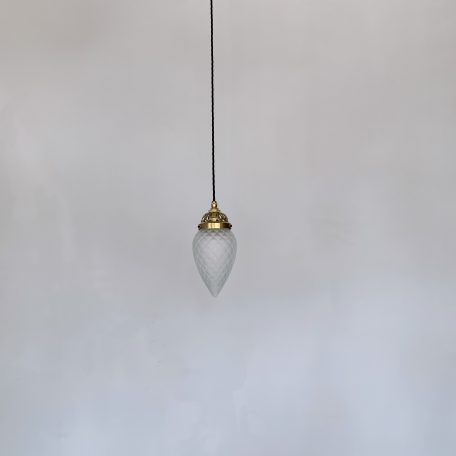 Frosted Enclosed Shade with Decorative Brass Galler