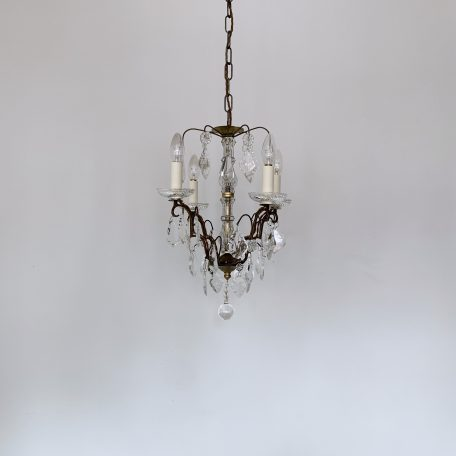 Louis XIV Style Chandelier with Glass Flat Leaf and Crystal Drops