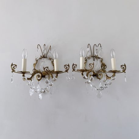 Pair of French Brass Wall Lights with Crystal and Flat Leafs Drops