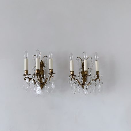 Pair of French Three Arm Brass Wall Lights with Flat Leaf and Crystal Drops