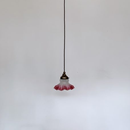 Small Frosted Shade with Cranberry Frill Edge