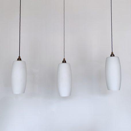 Three Tubular Matte White Glass Shades