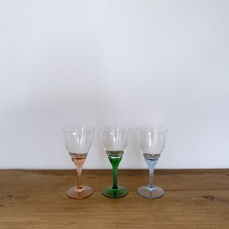 Three Wine Glasses with Coloured Stems