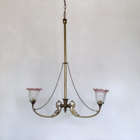 Victorian Electrified Brass Gasolier with Acid Etched Cranberry Glass Shades