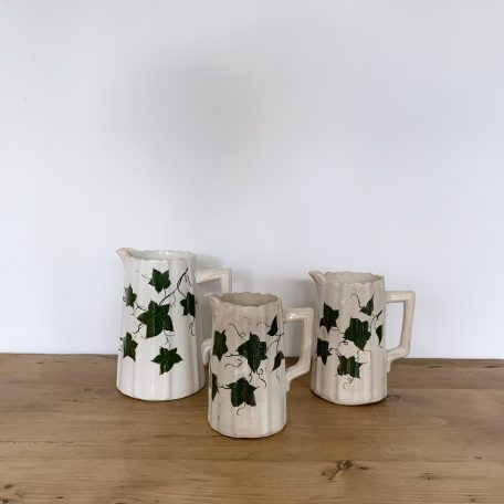 Vintage Ceramic Cream Jug Set with Ivy Motif