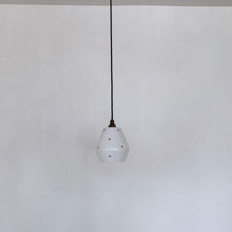 White Glass Shade with Red Spots